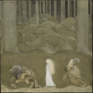 John Bauer's image of a princess and a couple of likely-looking trolls.