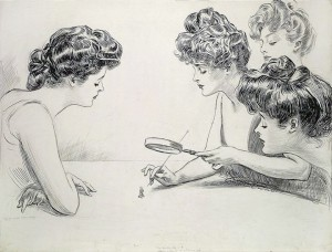"""Original pen and ink drawing for """"The Weaker Sex,"""" illustration by Charles Dana Gibson -- A young man on his knees imagines Gibson Girls examining him under a magnifying glass, like an insect"""