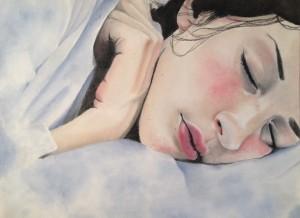 Liza Feurtado. Sleepy Girl. Pastel on Paper. Unknown date.