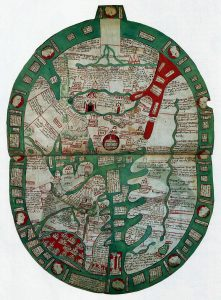World map in a late 14th-century manuscript of Ranulf's Polychronicon. Courtesy of wikipedia/British Library