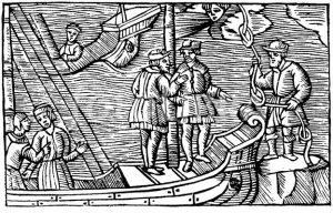 A Finnish man selling wind knots to a group of sailors in Historia de Gentibus Septentrionalibus, by Olaus Magnus (1555).