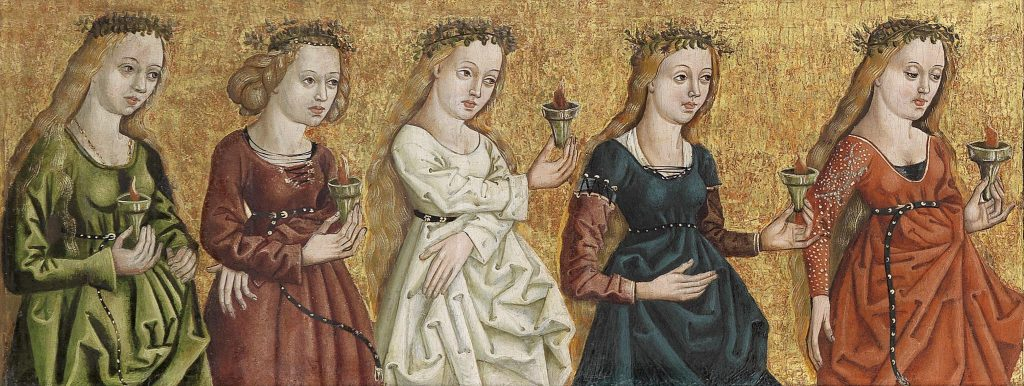 The Wise Virgins (detail of Salvator Mundi, flanked by the wise virgins and the foolish virgins. C1500. South German. Artist Unknown.