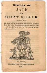 Chapbook of 'The History of Jack the Giant Killer'. Exact date unknown. Early 19th century.